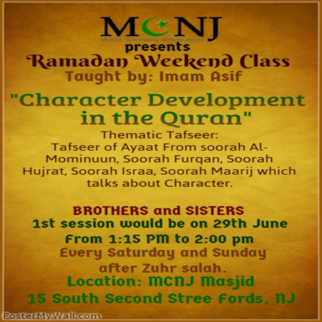 Character Development in Quran at MCNJ