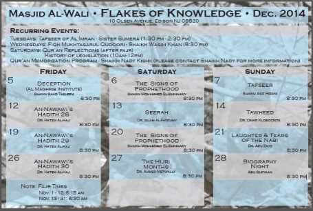 Masjid Al-Wali Dec-2014 Schedule