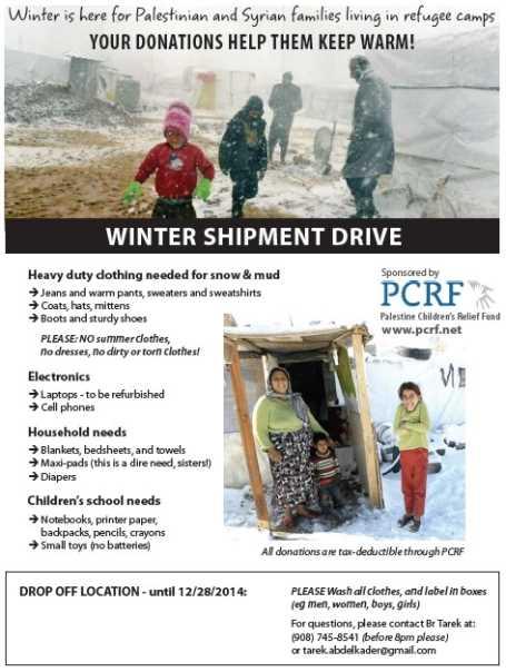 Palestine Children Relief Fund Winter Shipment Drive